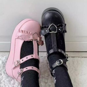 Womens Mary Janes Med Wedge Platform Heels Buckle Strap Creepers Lolita Shoes