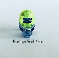 Lego Lot - 2 Minifig BLUE Chrome Helmets With Neon Green Visor Space Diver Mask