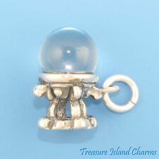 CRYSTAL BALL PSYCHIC FORTUNE TELLER 3D .925 Solid Sterling Silver Charm