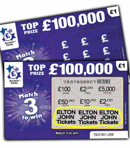 ELTON JOHN Tickets Prize Gift Surprise Reveal Scratch Card Personalised Concert