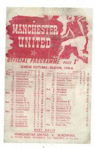 1945/46 FA Cup 4th Round 1st Leg - MANCHESTER UNITED v. PRESTON NORTH END