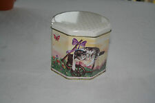 Octagonal Tin with Lid and Cats Sleeping in Wagons