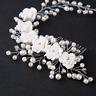 Elegant Bridal Wedding White Rose Flower Crystal Pearl Vine Hair Combs Hairpins