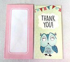 16pc THANK YOU CARDS OWL ANIMAL  cardboard birthday boys CHILDREN kids TL