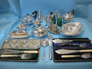 Nice Large Job Lot Of Antique Silver Plate Items Vintage Items & Plated Cutlery