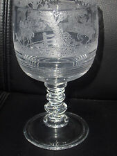 "Cambridge Imperial Fox Hunt Scene 7"" H Glass Goblet  E-718 Hay Day Tally Ho RARE"