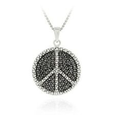 925 Silver Black Diamond Accent Peace Sign Necklace