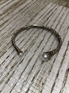 Sara Blaine - Willow House Silver Tone Cuff Lace ScrollWork Bracelet With Pearls