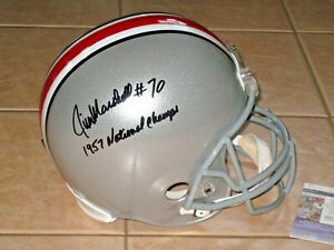 Jim Marshall signed Ohio State Buckeyes Full Size Helmet JSA OSU 1957 Champs