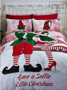 CATHERINE LANSFIELD Christmas Selfie Elfie Duvet Bed Set DOUBLE New