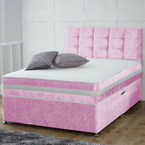 Brand New Crushed Velvet Divan Bed with Cubed Headboard and Mattress All Sizes