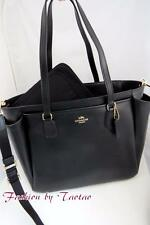 New Coach F 35702 Baby Diaper Bag Multi function work tote Black Leather $495