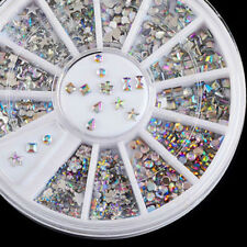 1.5mm Mix Wheel Nail Art Studs Rhinestones Glitter Diamond Gems 3D Tips Decor