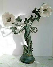Early 20Th Century Spelter Newell Post Lamp