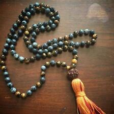 8mm labradorite Natural gemstones Mala knotted Necklace Buddhist Prayer Beads