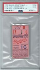 1953 BROOKLYN DODGERS GAME TICKET DUKE SNIDER HITS 3 HOME RUNS IN A DH PSA 2