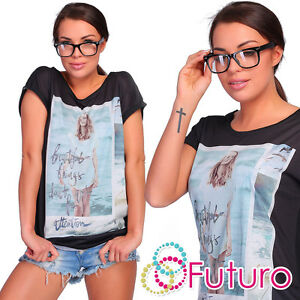 Party T-Shirt Beautiful Print Short Sleeve Crew Neck Casual Top Sizes 8-12 FB145