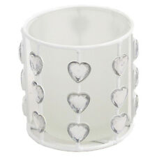 Heart Jewel Frosted Tea Light Candle Holder