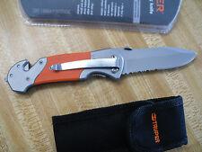 """Pocket Knife 5"""" Blade, Rescue Cutter Notch, Window Break With Nylon Belt Sheath"""
