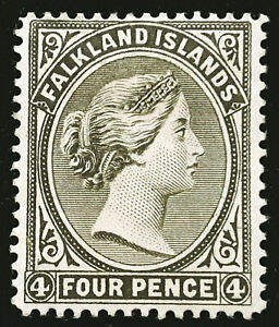 Falkland Islands Stamp 1889 4d Queen Victoria Scott # 6b SG12 MINT OG H