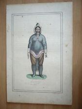 GRAVURE 1860 ESQUIMAU X ESQUIMAUVE JEUNE FEMME