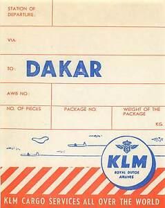KLM ROYAL DUTCH AIRLINES TO DAKAR SENEGAL AFRICA CARGO AVIATION LUGGAGE LABEL