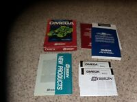 """Omega IBM PC Game 5.25"""" disks with box, handbook, reference & orientation guide"""