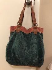 Lucky Brand Suede And Canvas Large Purse Leather Handles
