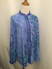 ab076cd47fa155 BOB MACKIE QVC WOMENS M MEDIUM MULTI COLOR COMBO PRINT LONG SLEEVE BUTTON  SHIRT