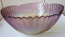 UNIQUE CRISTALLERIE FRENCH ART GLASS SHELL SHAPED BOWL MADE IN ITALY NEW