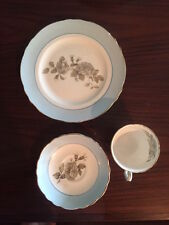Crown Staffordshire Tea cup, saucer, and plate set in Gray Blossoms