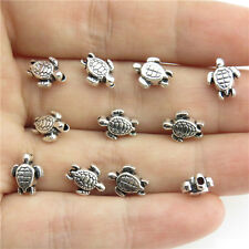 20976 80pcs Antique Silver Findings Alloy 9mm Sea Turtle Charms Spacer Beads