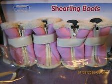 Signature Fashion Pet Collection-Shearling Boots-Pink-Large-Warm-Outdoors-Safety