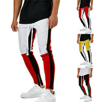 Men Sports Slim Color Block Casual Fit Pants Gym Jogger Track Trousers Ankle Zip