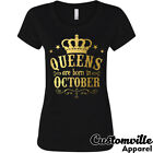 Queens are born in October Women's T-shirt. Birthday Girl gift shirt Gold logo