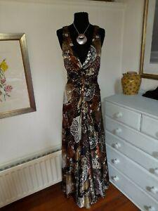 Stunning Alberto Makali 100% Silk Special Occasion Maxi Dress Size UK 12 -