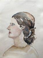 Aquarell Portrait Frau mit braunen Locken 30 x 40 cm