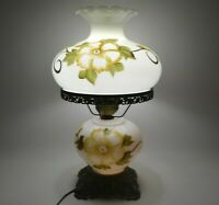 """Vintage 3 Way Parlor Hurricane Lamp 22"""" Painted Floral 1972 Gone With The Wind"""