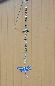 """Suncatcher 16 1/2"""" Faceted Glass Beads w/ Beaded Dragonfly 4"""" Wide Hand Made"""