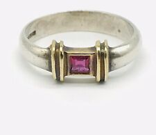 Tiffany & Co. Sterling Silver And 14K Yellow Gold Ruby Ring Band Sz 6