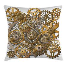 Modern Throw Pillow Case Steampunk Gears Design Square Cushion Cover 16 Inches