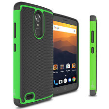 Green / Black Hard Case for ZTE Max XL Hybrid Phone Cover