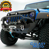 Black Stubby Rock Crawler Front Bumper+Winch Plate for 07-18 JEEP JK Wrangler