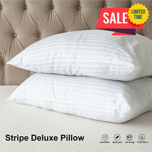 Pack of 2 Bed Pillows Bounce Back Stripe Quilted Pillows For Side Back Sleeper