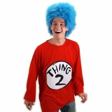 Dr Seuss The Cat in the Hat Thing 2 Costume Shirt and Wig Adult Sm/Med NEW