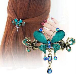 Vintage Women Elegant Butterfly Flower Hairpins Barrette Crystal Bow Hair Cli.AU