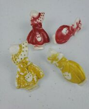 VTG 2 PAIR Plastic Red & Yellow Dutch Girls  Curtain Tie Backs Push Pins Holders