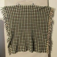 "S5902 Pendleton Green/Black/Tan/Cream Fringed Wool Throw 41""x41"""