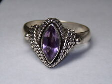 STERLING SILVER 925 ESTATE CABLE WRAPPED MARQUISE PURPLE AMETHYST RING SIZE 6.5