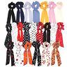 Femmes Filles Boho Ruban Noeud Cheveux Chouchous Cravates Élastique Queue Fentes